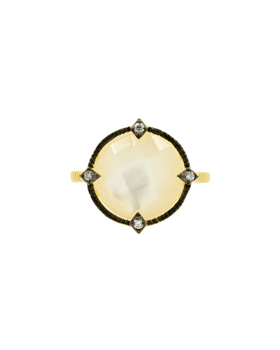 Color Theory Round Cocktail Ring - Mother-of-Pearl, Size 7