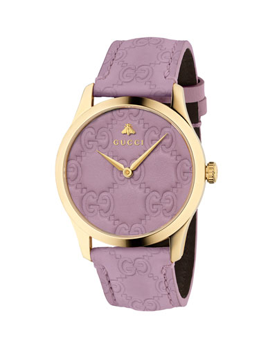 38mm G-Timeless Logo Leather Watch, Purple