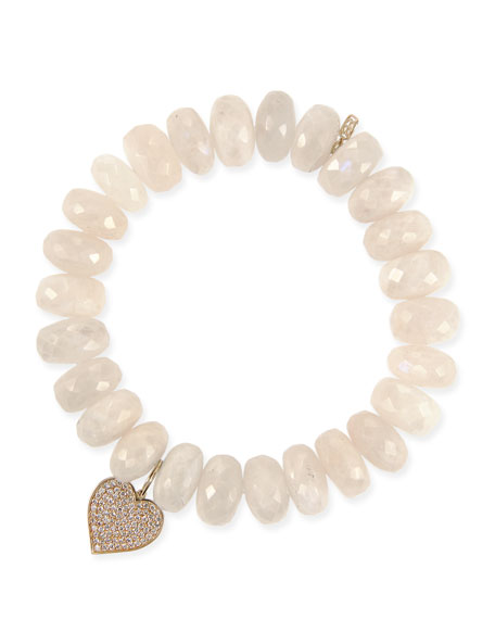 SYDNEY EVAN 14K Diamond Heart & Moonstone Bracelet in White
