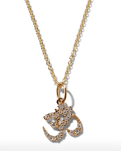 14k Gold Diamond OM Charm Necklace
