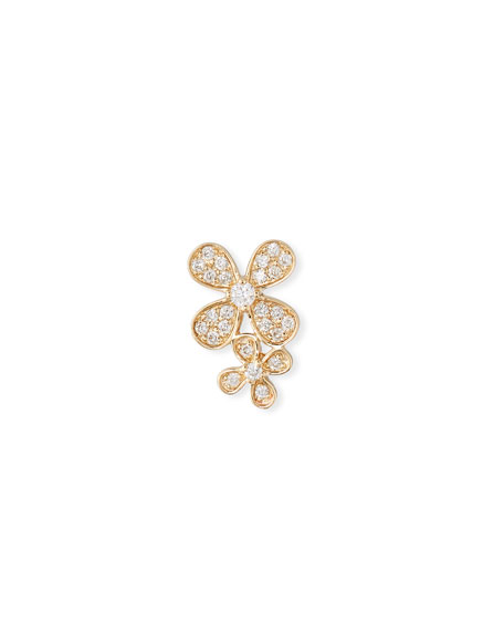 SYDNEY EVAN 14K Gold Diamond Double Paisley Petal Stud Earring (Single)