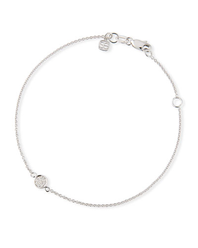 14k White Gold Diamond Baby Disc Bracelet