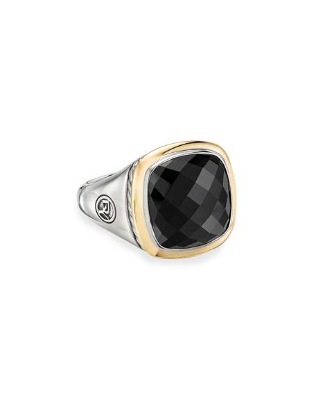 David Yurman 14mm Albion Cushion Ring w/ 18k Gold & Onyx, Size 9