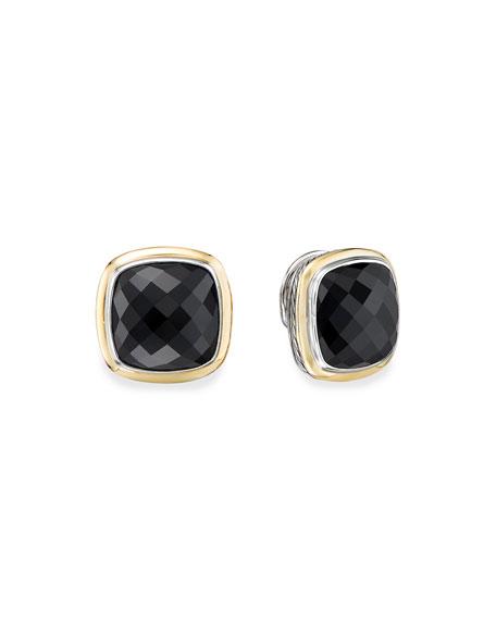 David Yurman 14mm Albion Stud Earrings w/ 18k Gold & Onyx