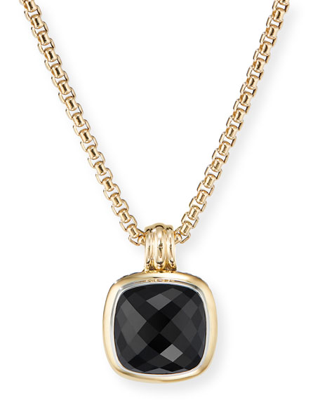 David Yurman 14mm Albion Pendant Enhancer w/ 18k Gold & Onyx