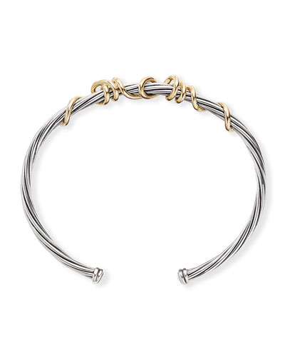 Cable Spira Bangle w/ 14k Gold