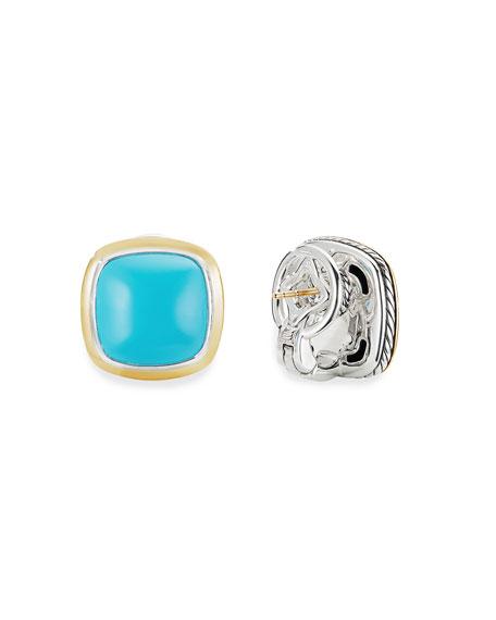 David Yurman 14mm Albion Stud Earrings w/ 18k Gold & Turquoise