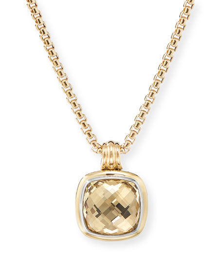 David Yurman 14mm Albion Pendant Enhancer w/ 18k Gold & Citrine