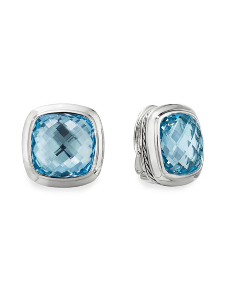 David Yurman Albion Stud Earrings w/ Blue Topaz