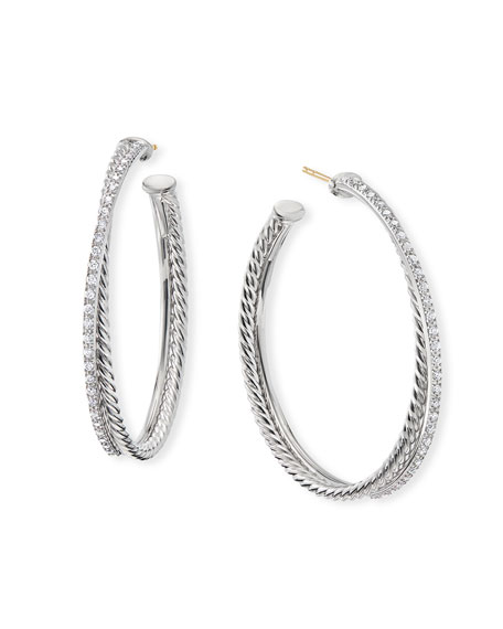 David Yurman Accessories DY CROSSOVER EXTRA-LARGE HOOP EARRINGS W/ DIAMONDS