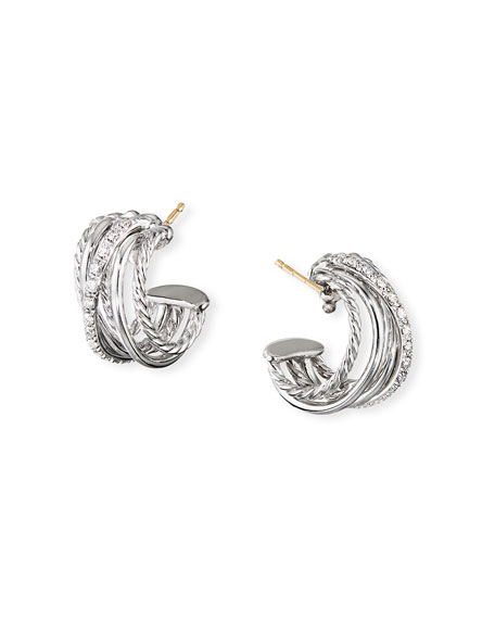 David Yurman Accessories DY CROSSOVER HUGGIE HOOP EARRINGS W/ DIAMONDS