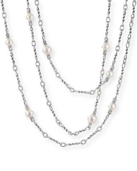 "David Yurman CONTINUANCE PEARL SMALL CHAIN NECKLACE, 36""L"