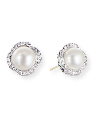 Continuance Pearl Earrings w/ Diamonds