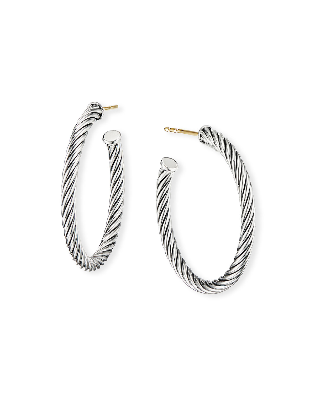 f84ddd49ec3b ... Sterling Silver Cable Large Hoop Earrings Yoogi S Closet. David  Yurmancablespira Hoop Earrings 1. David Yurman Cablespira Hoop Earrings 1  Neiman Marcus