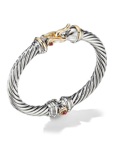 7mm Cable Buckle Bracelet w/ Garnet & 18k Gold