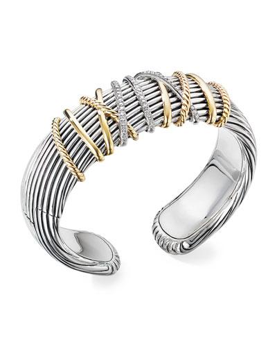 Helena Cuff Bracelet w/ 18k Gold & Diamonds