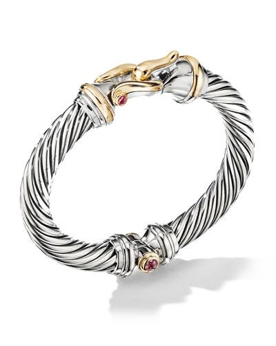 9mm Cable Buckle Bracelet w/ Garnet & 18k Gold