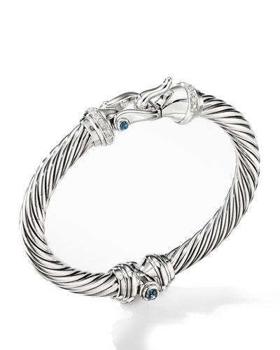 7mm Cable Buckle Bracelet w/ Diamonds & Topaz