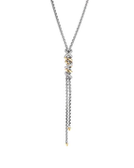 David Yurman DY Helena Diamond Wrapped Y-Drop Necklace w/ 18k Gold