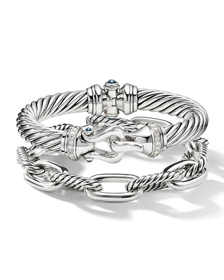 Image 4 of 4: David Yurman 9mm Cable Buckle Bracelet w/ Diamonds & Topaz