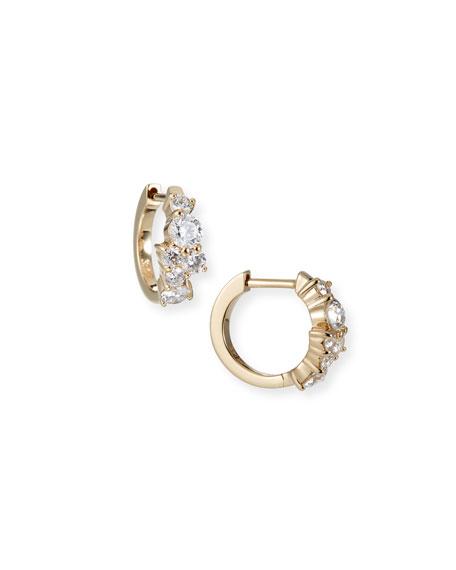 Sydney Evan Jewelries COCKTAIL 14K GOLD DIAMOND HUGGIE HOOP EARRINGS