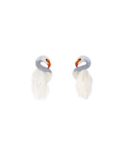 Swan Stud Earrings w/ Feathers