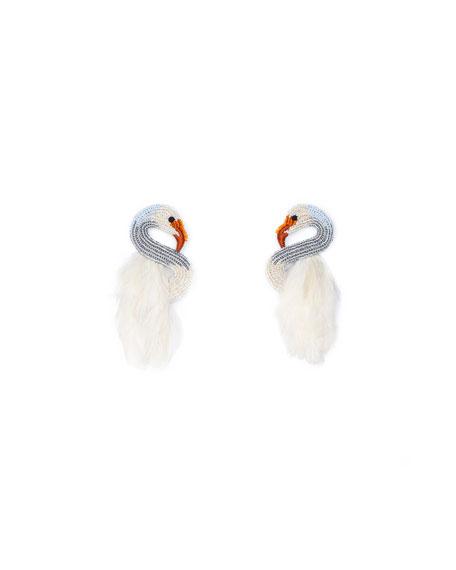 Swan Stud Earrings W/ Feathers in White