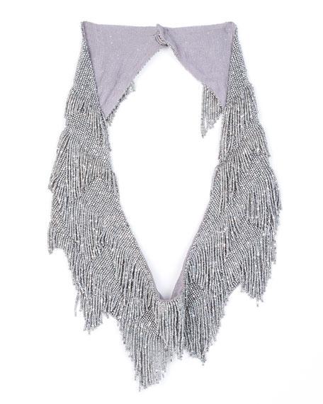 MIGNONNE GAVIGAN Greta Beaded Fringe Necklace in Silver