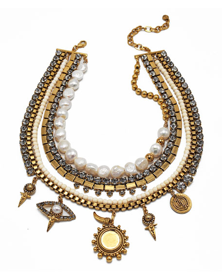 DYLANLEX Sloane Pearl & Charm Necklace in Gold