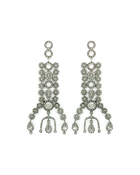 DYLANLEX Dakota Crystal Drop Earrings in Silver