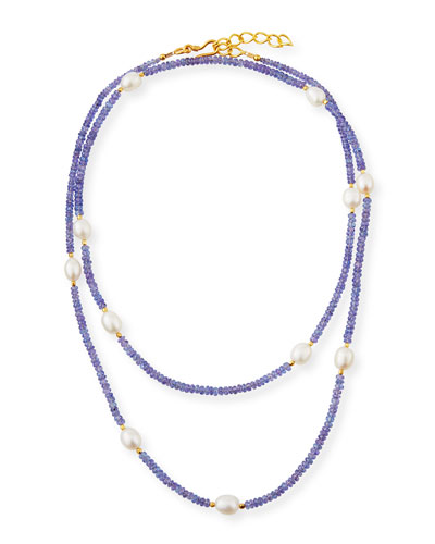 Long Pearl & Tanzanite Necklace