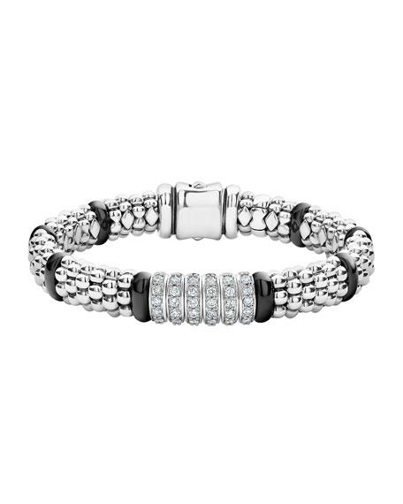 Lagos Black Caviar 6-Diamond Station Bracelet
