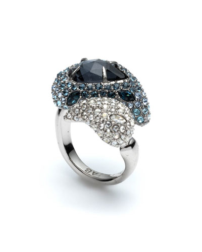 Crystal Encrusted Paisley Cocktail Ring, Size 7