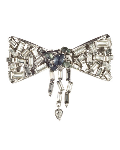 Scattered Crystal Baguette Bow Pin