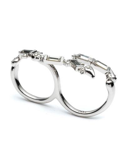 Crystal Baguette Double-Finger Ring, Size 7