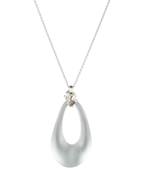 Alexis Bittar Long Crystal Baguette Cluster Pendant Necklace,