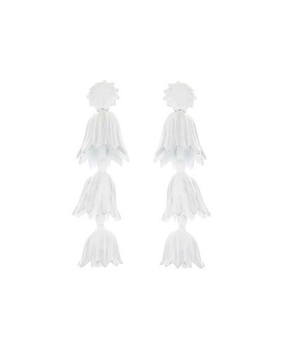 Tiered Flower Drop Earrings, White