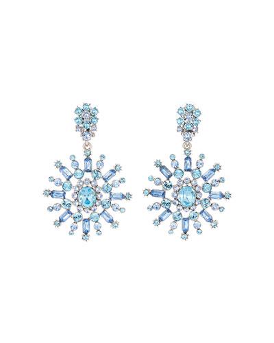 Flower Crystal Drop Earrings
