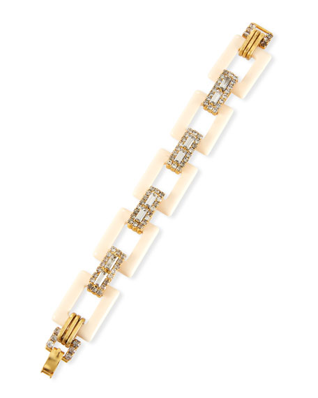 ELIZABETH COLE Willow Mixed-Link Bracelet in Off White