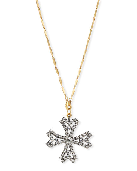 Jacalyn Crystal Cross Pendant Necklace in Gold
