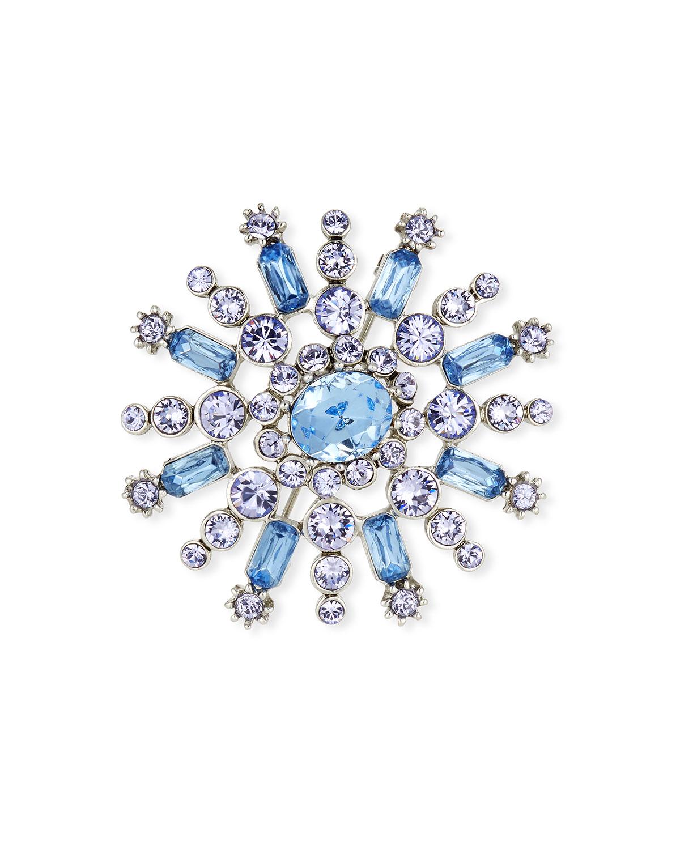 6978f939371 Oscar de la Renta Flower Pave Crystal Brooch