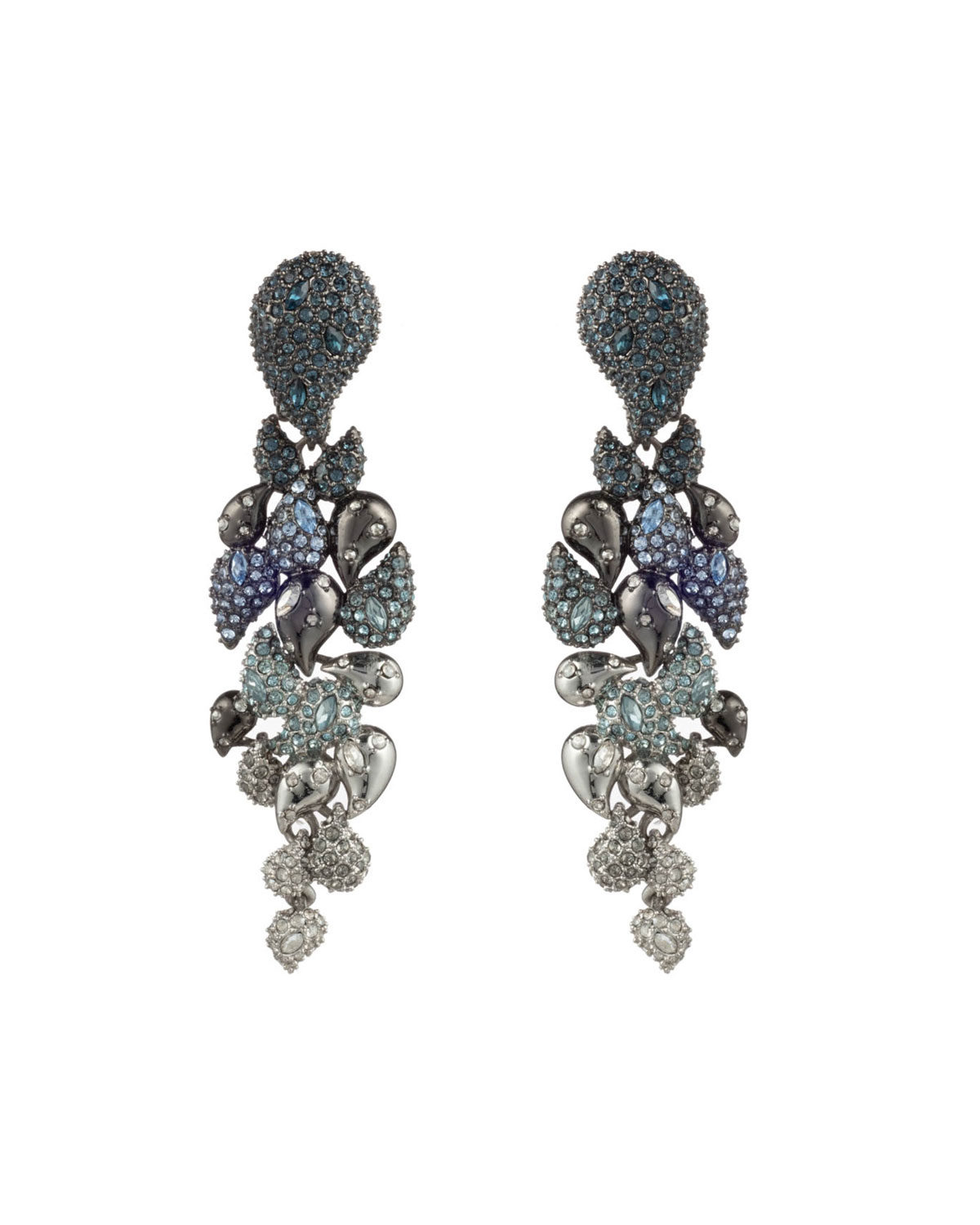 Crystal Encrusted Ombre Paisley Clip Earrings