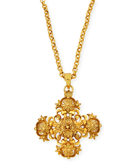JOSE & MARIA BARRERA Cross Medallion Charm Necklace in Gold