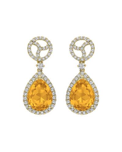 Signature 18k Gold Diamond & Citrine Drop Earrings
