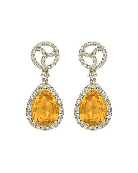 KIKI MCDONOUGH Signature 18K Gold Diamond & Citrine Drop Earrings in Yellow