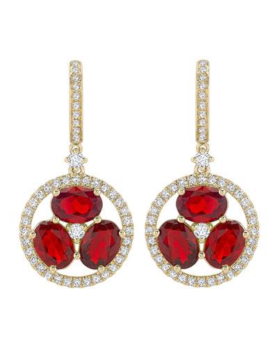 18k Gold Fire Opal & Diamond Flower Drop Earrings