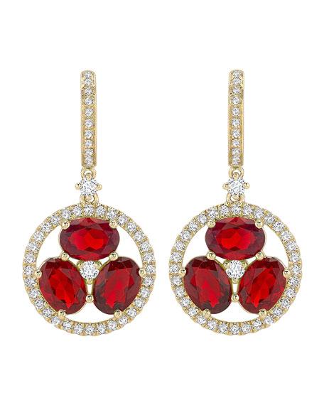 KIKI MCDONOUGH 18K Gold Fire Opal & Diamond Flower Drop Earrings in Red