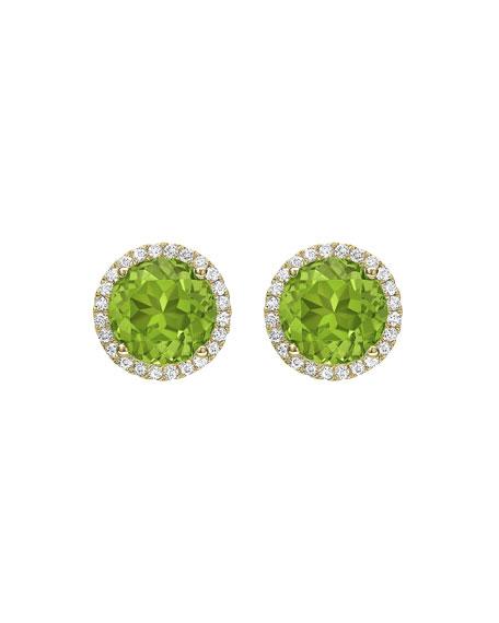 KIKI MCDONOUGH Grace Peridot & Diamond Halo Stud Earrings in Green