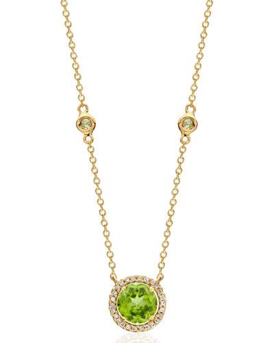 Grace 18k Gold Peridot & Diamond Pendant Necklace