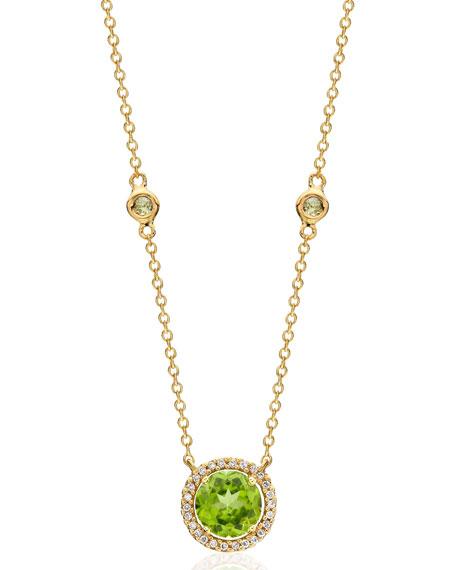KIKI MCDONOUGH Grace 18K Gold Peridot & Diamond Pendant Necklace in Green